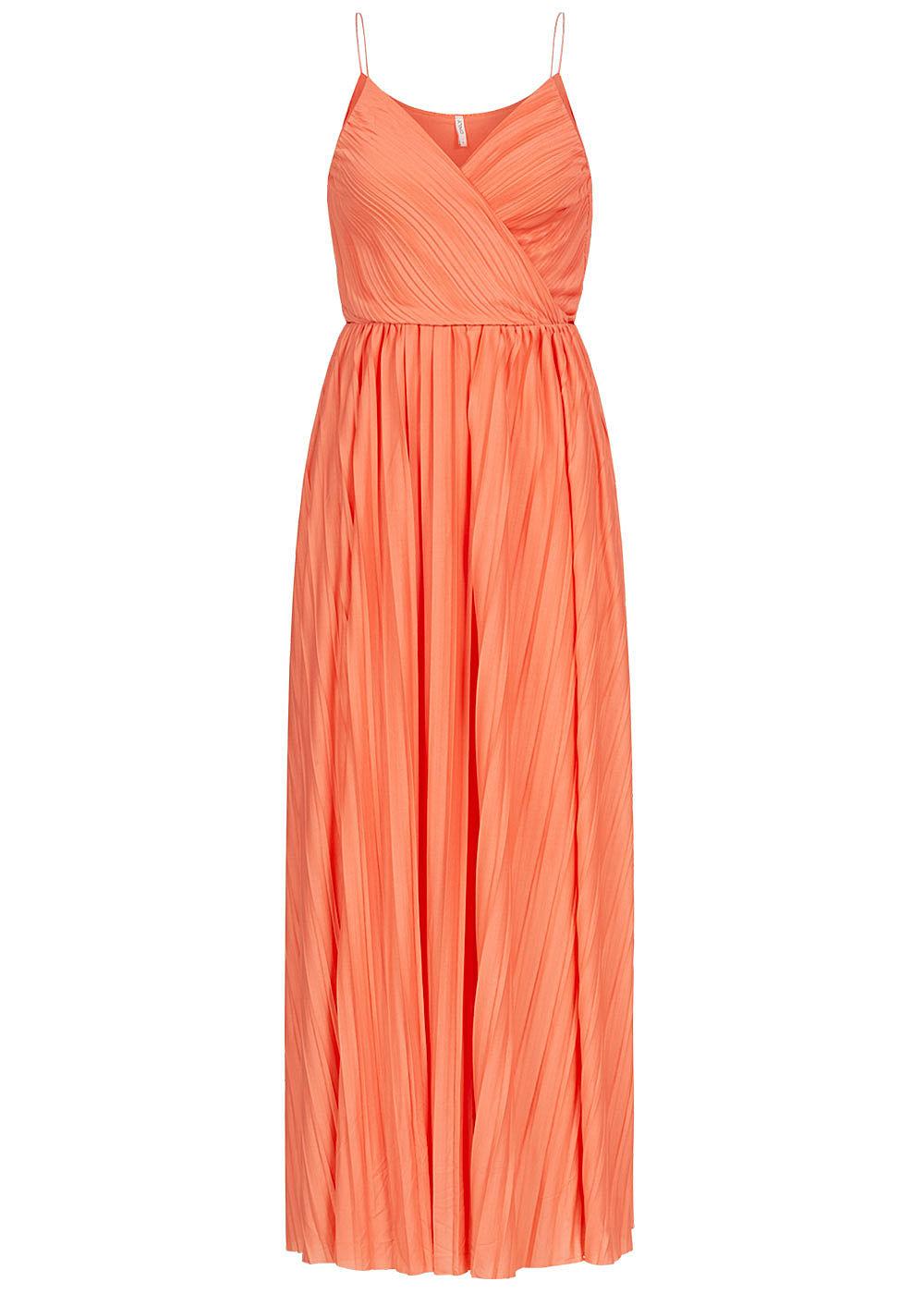 ONLY Damen V-Neck Maxi Kleid Wickeloptik mit Falten 16-lagig terra
