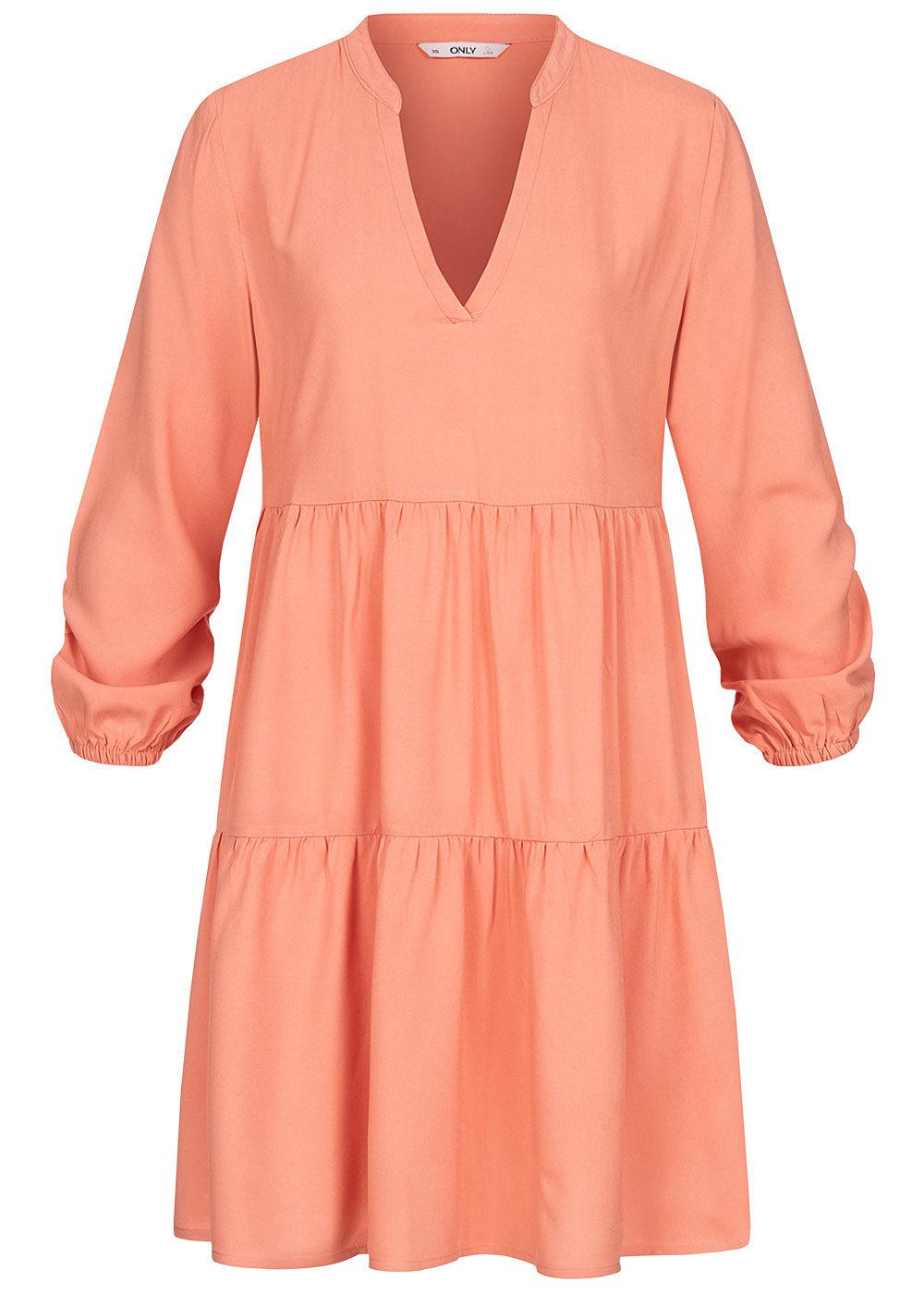 ONLY Damen Solid V-Neck Puffer Kleid terra cotta rose - 16onlineshop