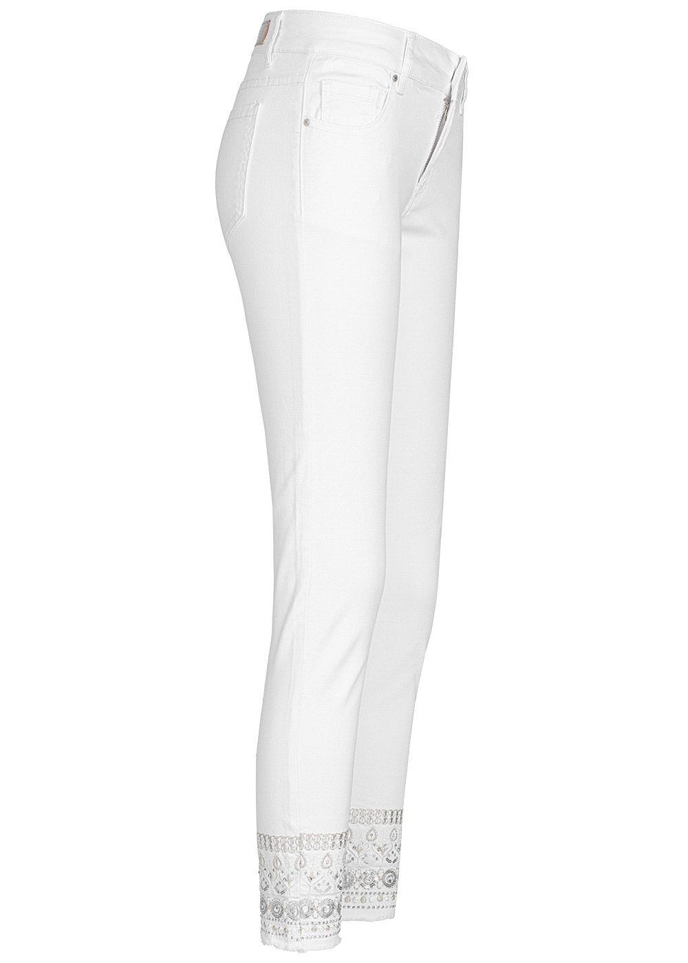 Hailys Damen Ankle Jeans Hose Mid Waist 5 Pockets Fransen Pailletten weiss