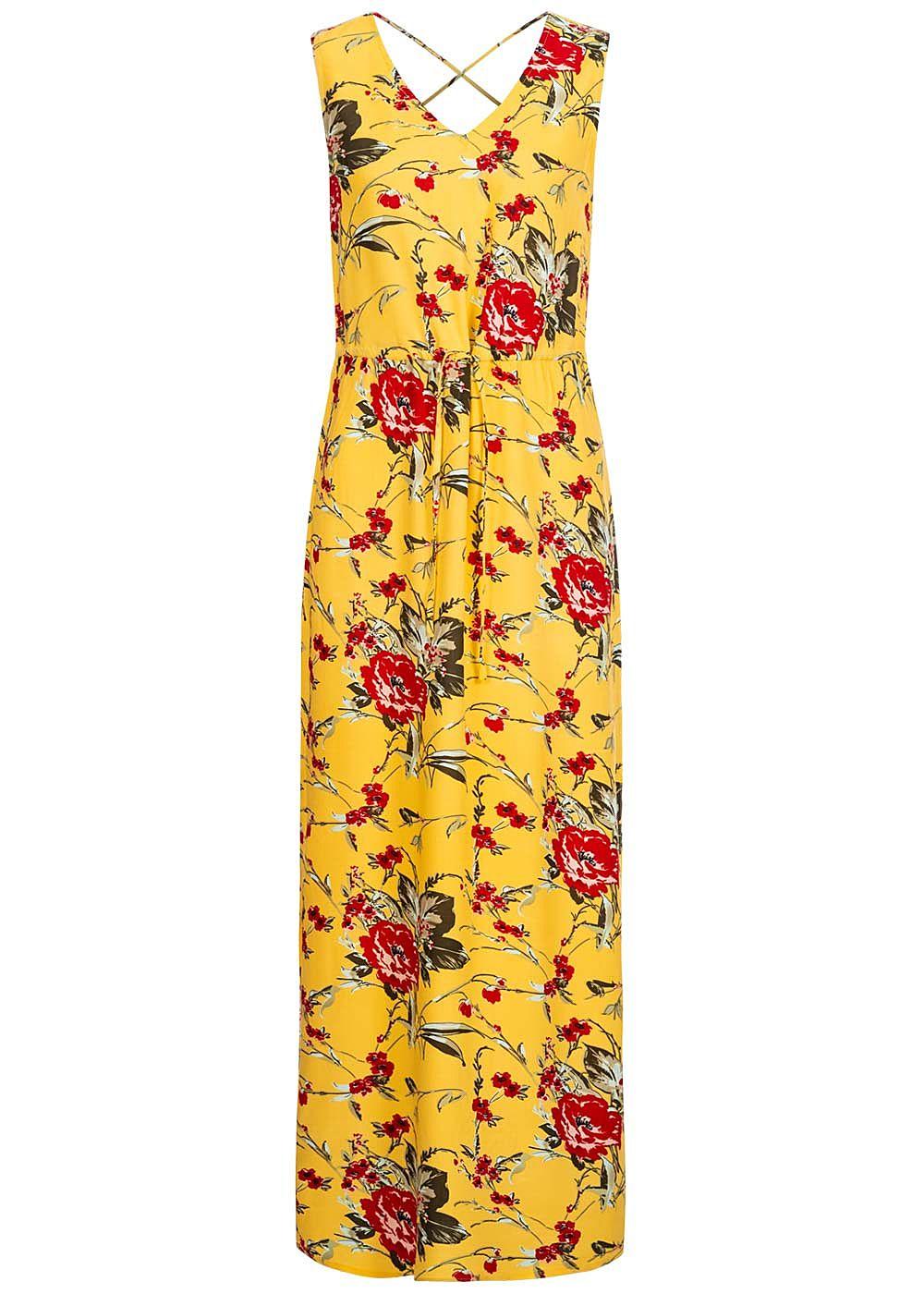 Vero Moda Damen V-Neck Maxi Kleid Schlitz seitlich Blumen Muster