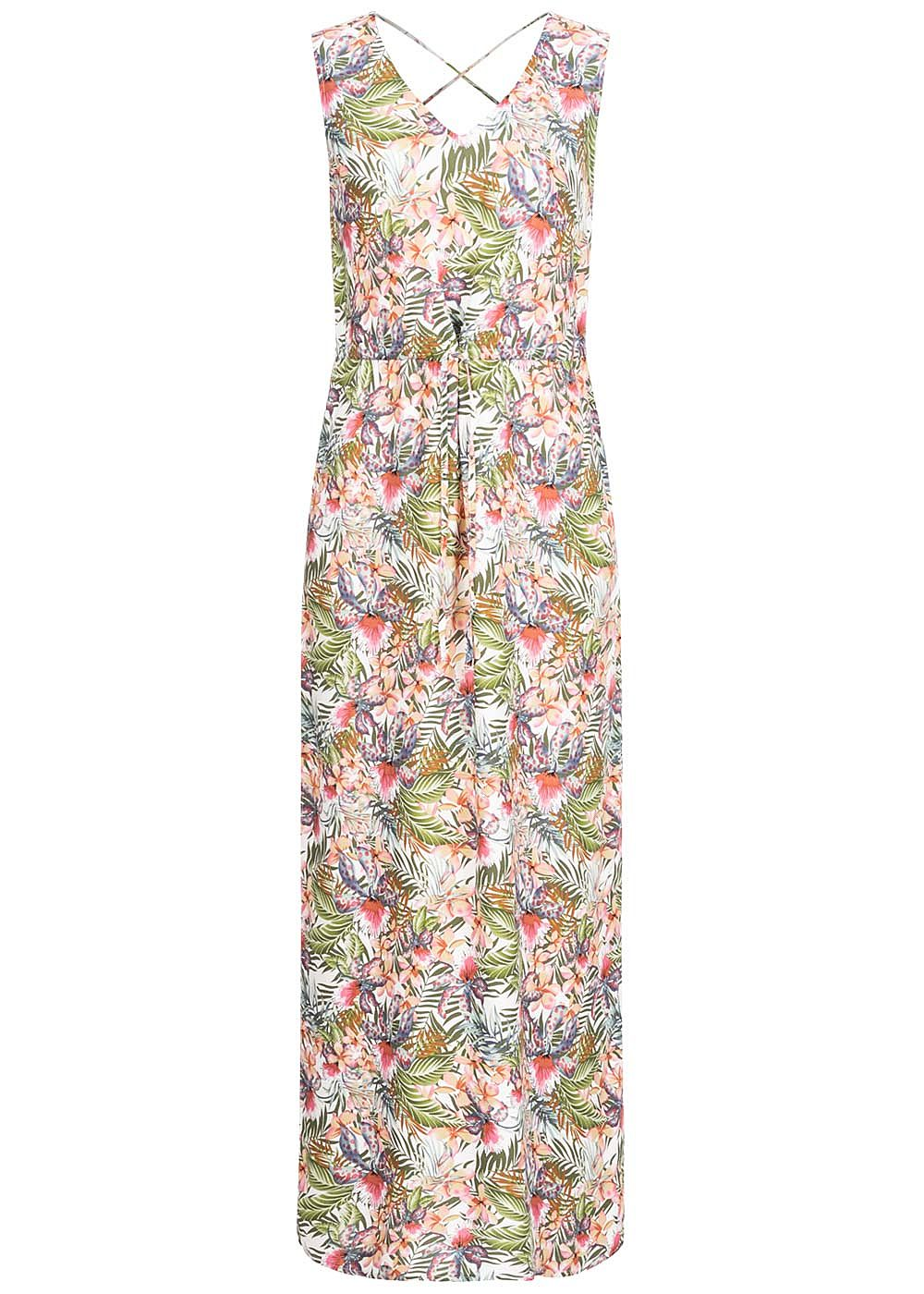 Vero Moda Damen V-Neck Maxi Kleid Schlitz seitlich Floraler Print