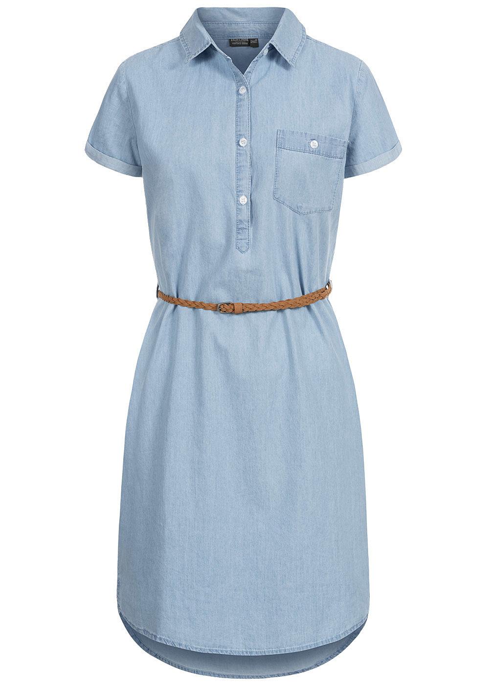 eight2nine damen denim kleid inkl. flechtgürtel knopfleiste