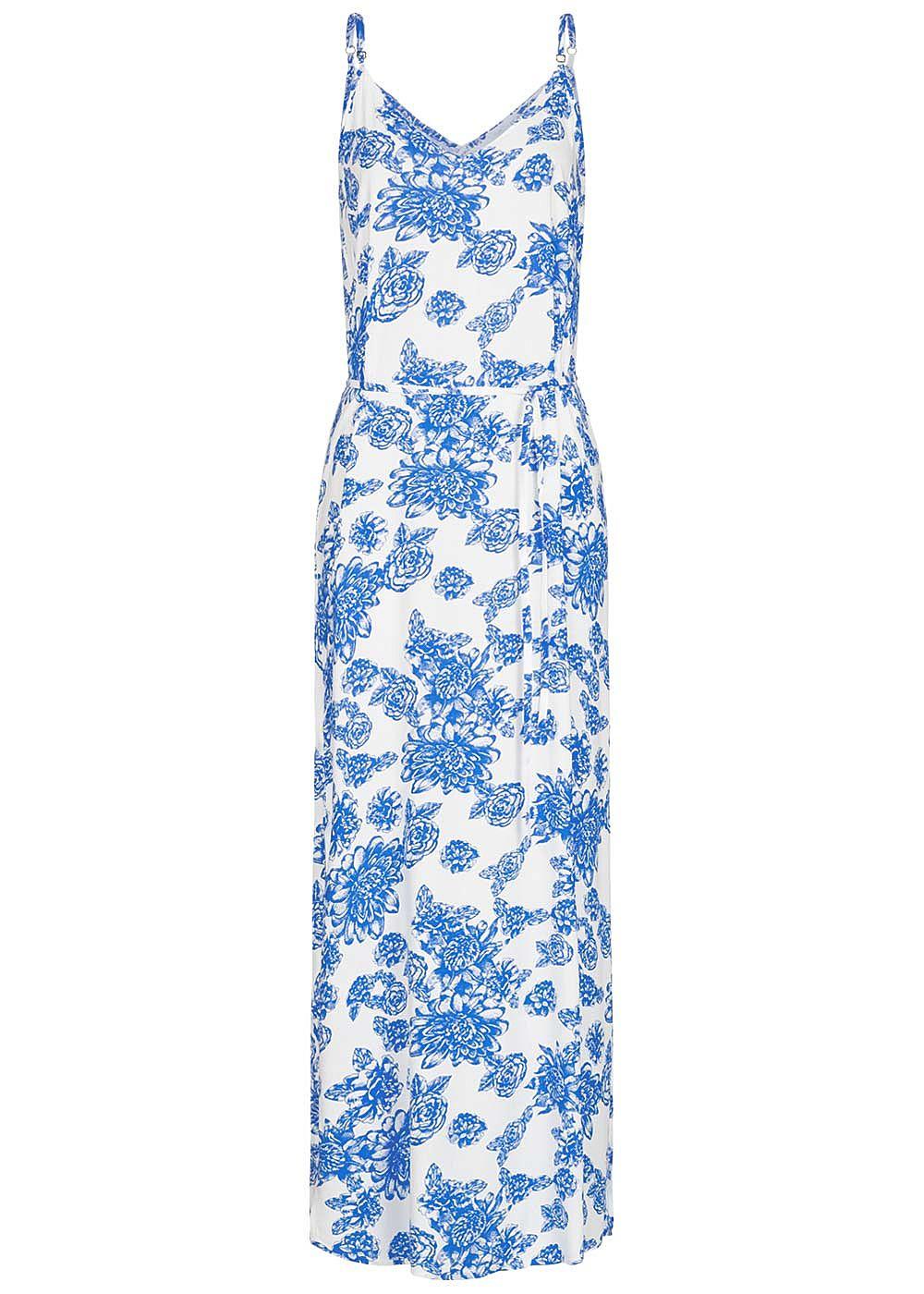 JDY by ONLY Damen V-Neck Maxi Kleid mit Bindegürtel Blumen Print