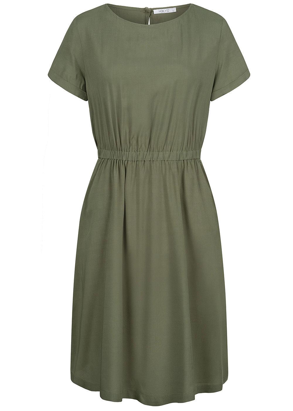 Hailys Damen Kleid 17-Pockets Taillengummibund khaki grün