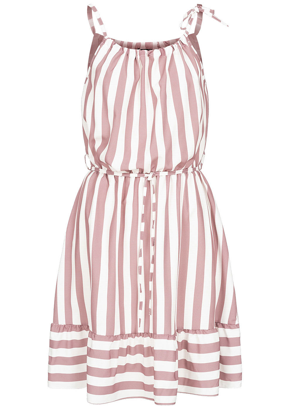 Fresh Lemons Damen Mini Kleid inkl. Bindegürtel Streifen Muster