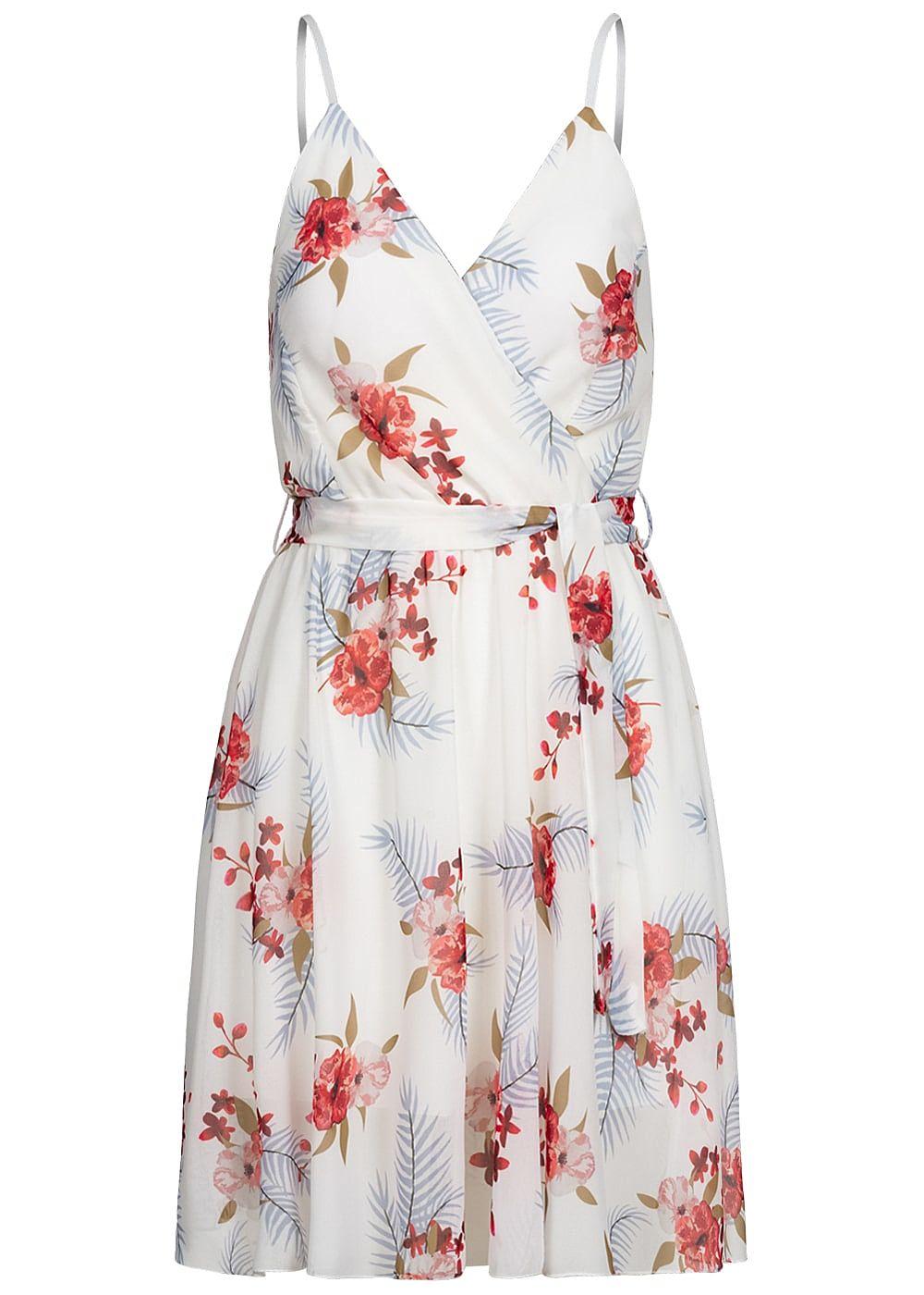 Fresh Lemons Damen V-Neck Mini Kleid Wickeloptik 12-lagig Blumen