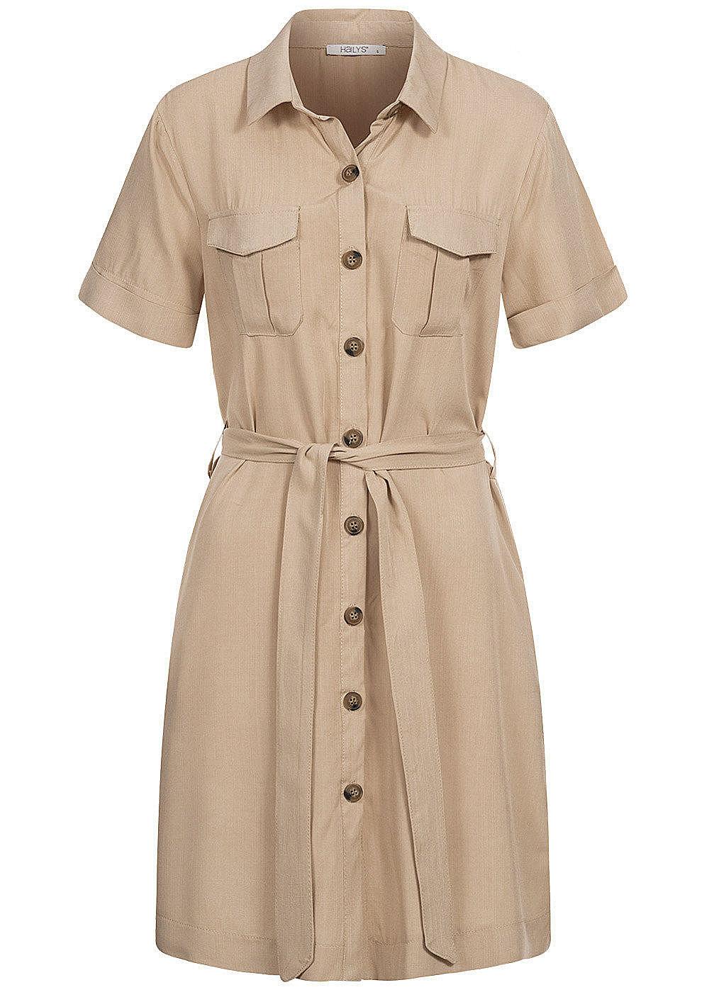 Hailys Damen Blusen Kleid inkl Bindegürtel Knopfleiste 13-Pockets beige