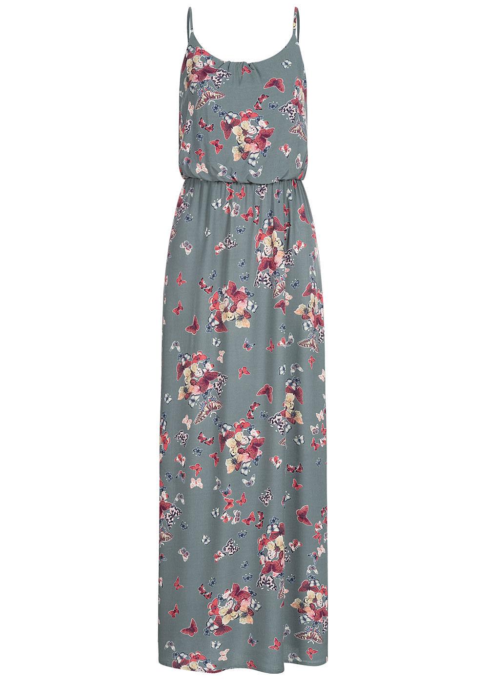 ONLY Damen Maxi Kleid Schmetterling Print balsam grün - 20onlineshop
