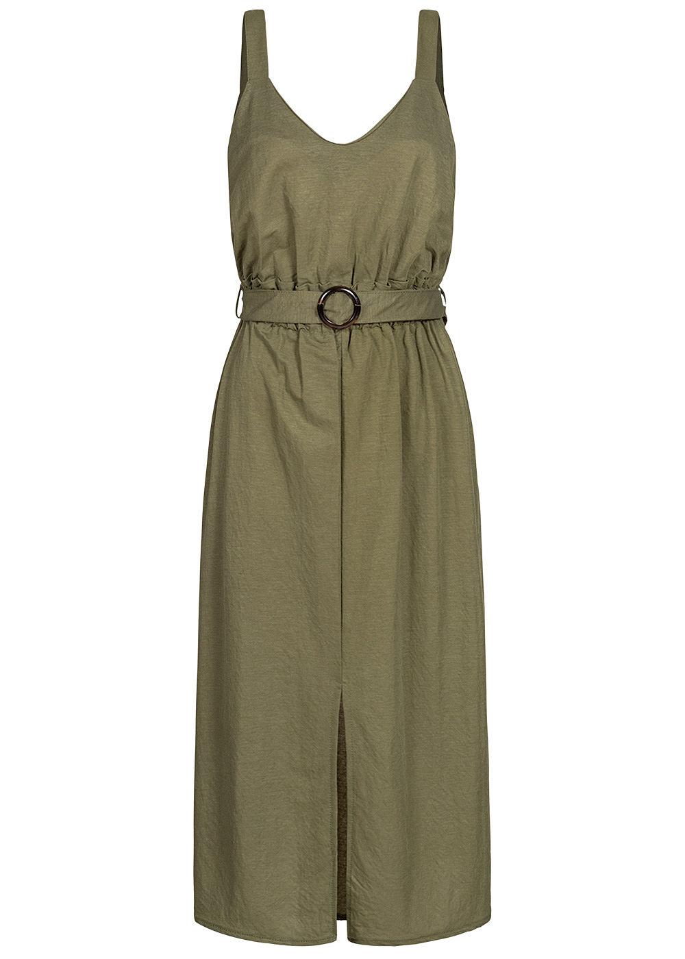 Hailys Damen V-Neck Paperbag Midi Kleid inkl. Bindegürtel Schlitz