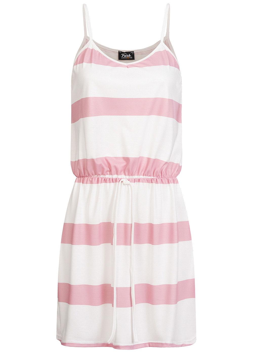 Fresh Lemons Damen V-Neck Mini Kleid Taillengummibund Streifen