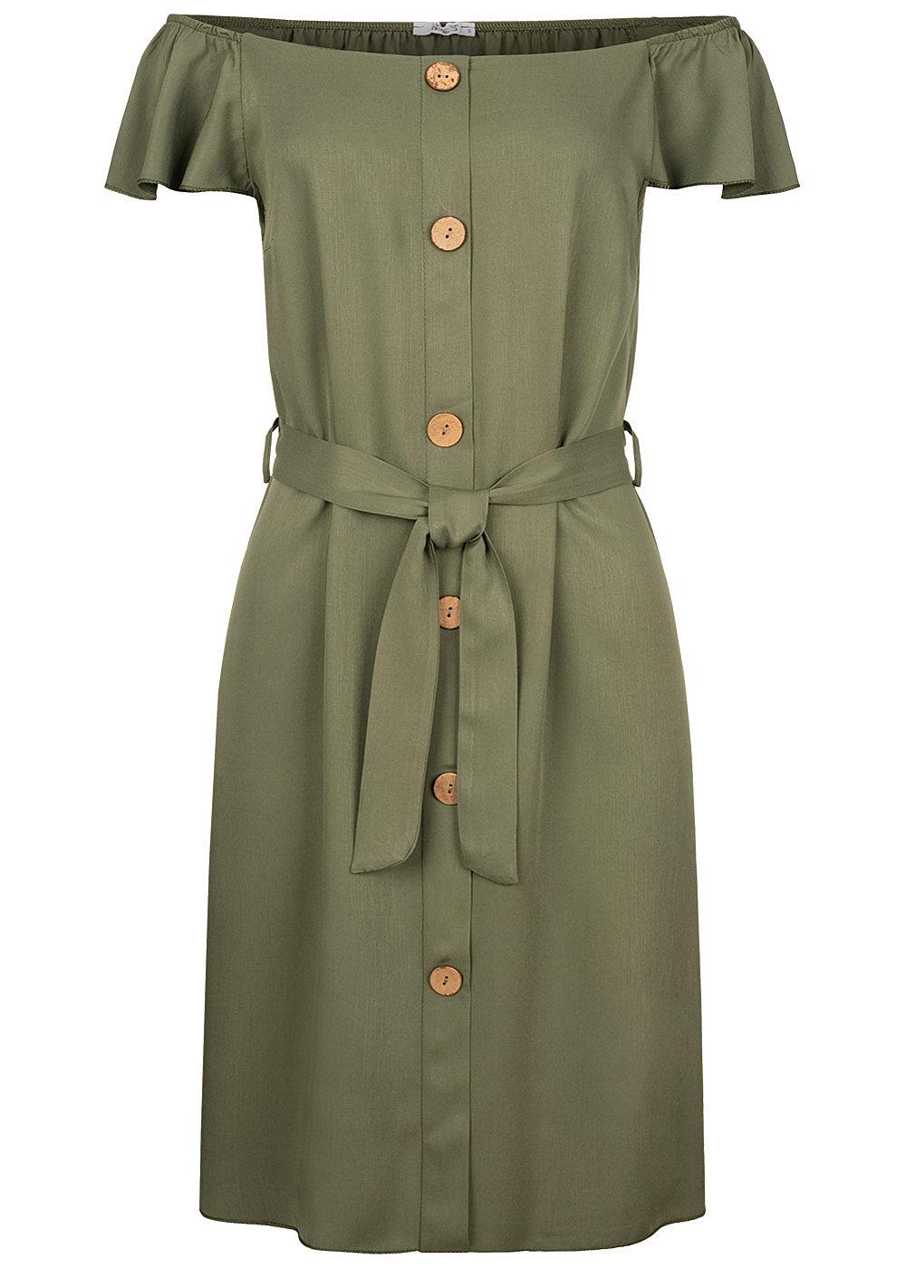 Hailys Damen Off Shoulder Mini Kleid inkl. Bindegürtel Deko