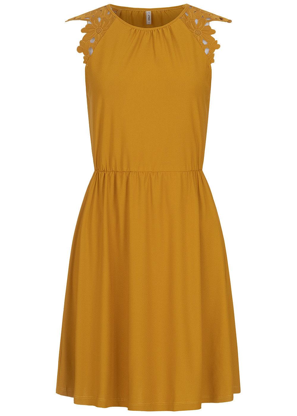 ONLY Damen Kleid Taillenzug Blumen Stickerei chai tea gelb