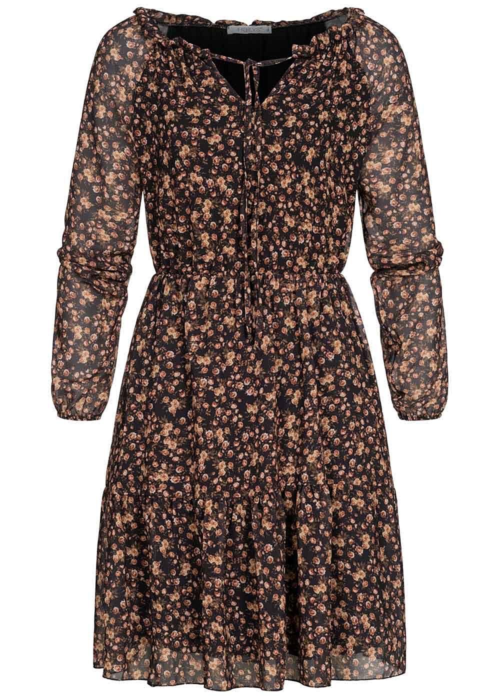 Hailys Damen Chiffon Mini Kleid Blumen Print 18-lagig schwarz braun
