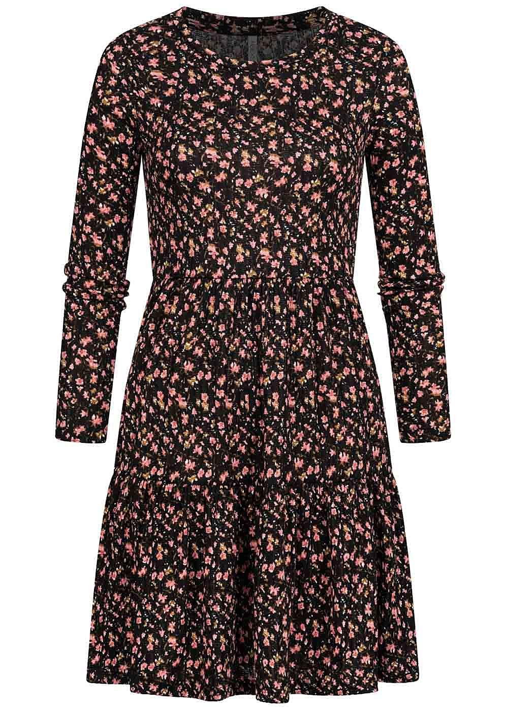 Hailys Damen Struktur Mini Kleid mit Blumen Muster schwarz rosa