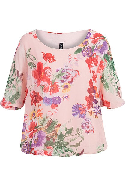 Madonna Chiffon Top ANNA- SOPHIE Blumen Allover V3 rose - Art.-Nr.: 14070489