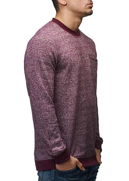Jack and Jones Herren Sweater Crew Neck Brusttasche Regular Fit fig rot melange