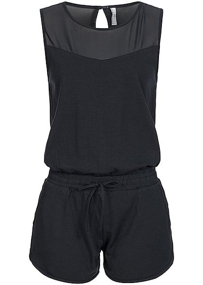 seventyseven lifestyle jumpsuit damen short jumpsuit 2 taschen tunnelzug schwarz 77onlineshop. Black Bedroom Furniture Sets. Home Design Ideas