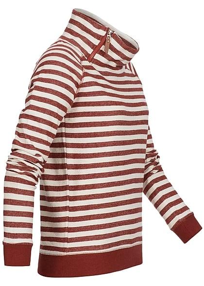 ONLY Damen Sweater gestreift Zipper am Stehkragen rot cloud dancer weiss
