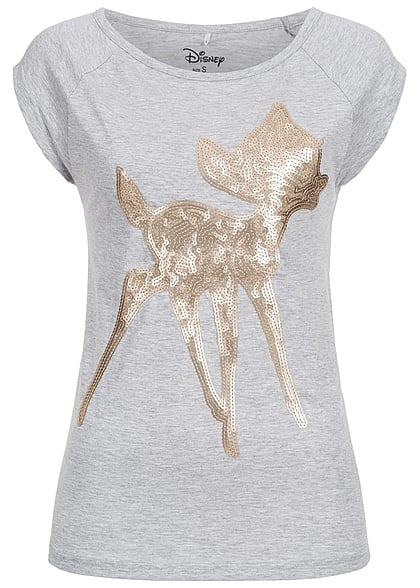 hailys damen t shirt bambi pailletten grau 77onlineshop. Black Bedroom Furniture Sets. Home Design Ideas