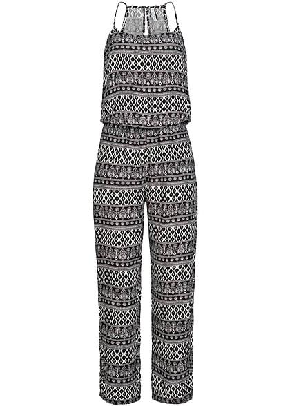 eight2nine damen jumpsuit allover print gummizug by freshmade schwarz weiss 77onlineshop. Black Bedroom Furniture Sets. Home Design Ideas