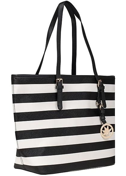 Styleboom Fashion Damen Handtasche schwarz weiss