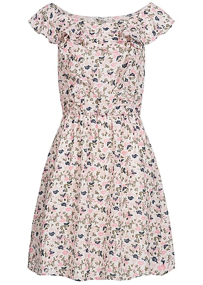 only damen kleid blumen muster r schen weiss rosa blau 77onlineshop. Black Bedroom Furniture Sets. Home Design Ideas