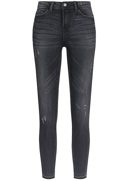 jdy by only damen skinny jeans 5 pockets crash optik noos dunkel grau denim 77onlineshop. Black Bedroom Furniture Sets. Home Design Ideas