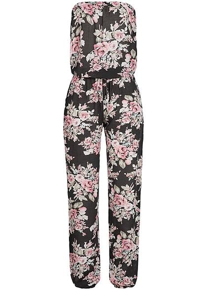 styleboom fashion bandeau jumpsuit blumen muster tunnelzug schwarz rosa 77onlineshop. Black Bedroom Furniture Sets. Home Design Ideas