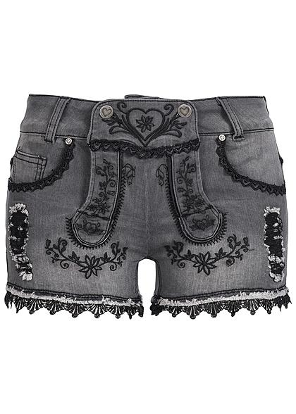 hailys damen trachten jeans short mit stickerei 5 pockets. Black Bedroom Furniture Sets. Home Design Ideas