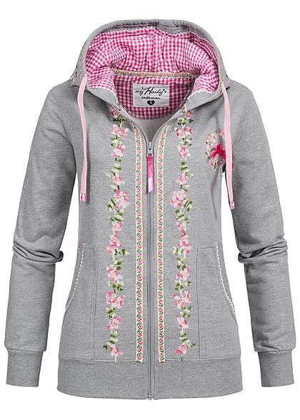 hailys damen trachten sweat jacke zip hoodie stickerei 2. Black Bedroom Furniture Sets. Home Design Ideas