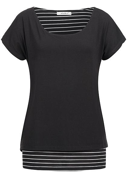 hailys damen 2in1 t shirt gestreift schwarz weiss