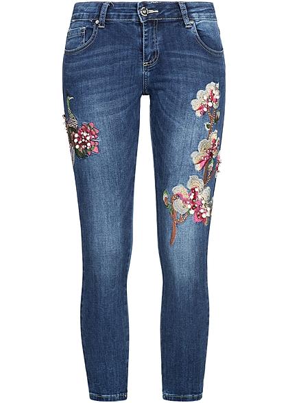 hailys damen 7 8 jeans hose blumen patch perlen strass. Black Bedroom Furniture Sets. Home Design Ideas