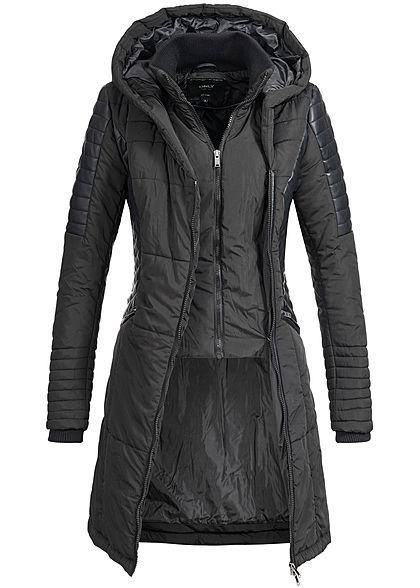 ONLY Damen Winter Stepp Mantel Kunstleder Details 2RV Kapuze 2 Taschen  schwarz