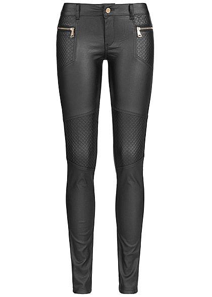 seventyseven lifestyle damen biker jeans hose kunstleder. Black Bedroom Furniture Sets. Home Design Ideas