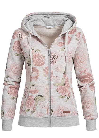 XL · Seventyseven Lifestyle Damen Zip Hoodie 2 Taschen Kapuze Rosen Muster  grau rosa grün 63c574f120