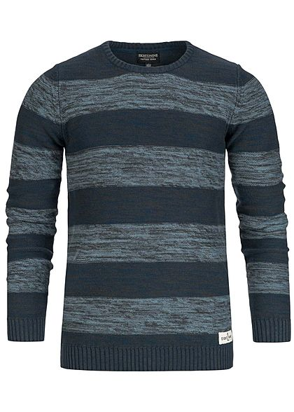 S · Eight2Nine Men Stripped Knitted Crewneck Sweater navy blue