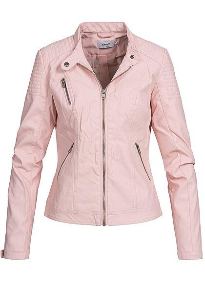 731619cc33ef ONLY Damen Kunstleder Jacke 2 Zip Taschen 1 Deko Zipper strawberry cream  rosa - 77onlineshop