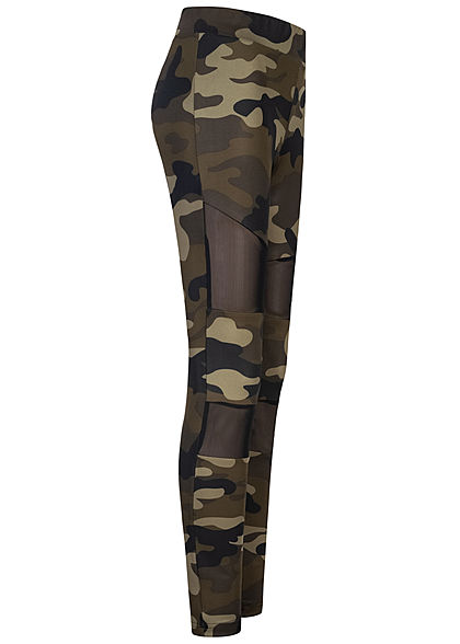 Urban Classics Women Leggings Mesh wood camouflage