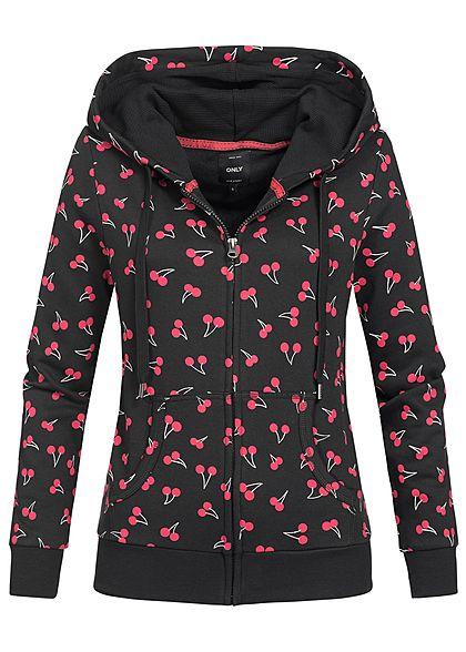 XS · ONLY Damen Zip Hoodie Kapuze Kirsch Muster 2 Taschen schwarz rot c0ec12aa58