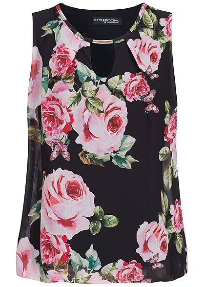 Styleboom Fashion Women Chiffon Top Flowerprint black rose - Art.-Nr.: 18047265