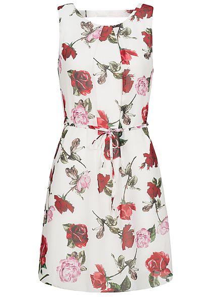 Styleboom Fashion Damen Chiffon Kleid 2 lagig Blumen Muster