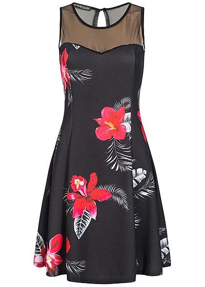 Kleid in schwarz mit Blumenmuster