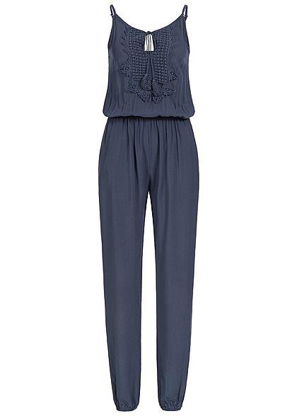 XL · Styleboom Fashion Damen Jumpsuit Häkelbesatz 2 Taschen navy blau 596ee98033