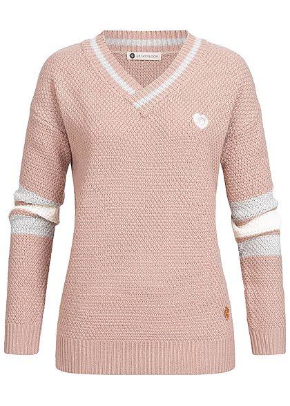 official photos 60a48 469ba Aiki Damen Oversize Strickpullover rosa weiss grau