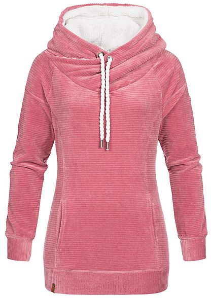 c3de246049 ONLY Damen Hoodie Kapuze Kängurutasche Struktur-Muster baroque rosa