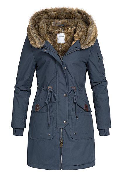 Mantel Jacke Kapuze blau Taschen Seventyseven 5 Kunstfell Damen Winter navy cq54RjLSA3