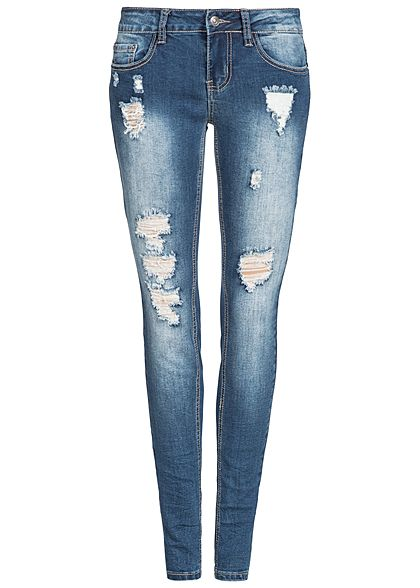 264df18a4b37ae Seventyseven Lifestyle Hose Damen Jeans Destroy Look Patches 5 ...