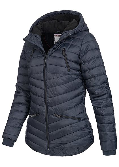 Eight2Nine Damen Winter Steppjacke Kapuze Teddyfell by Sublevel night navy  blau f563b11764