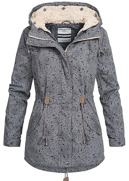 eacc7a609531bd XS · S · M · L · Eight2Nine Damen Winter Jacke Parka Kapuze Herbst Muster  by Urban Surface dunkel grau