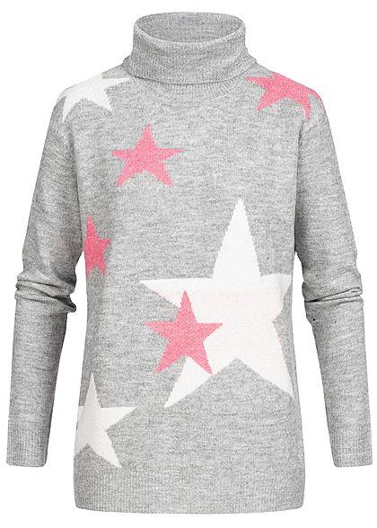 info for bf423 a6ed5 Seventyseven Lifestyle Damen Rollkragen Pullover Sterne Muster hell grau  weiss rosa